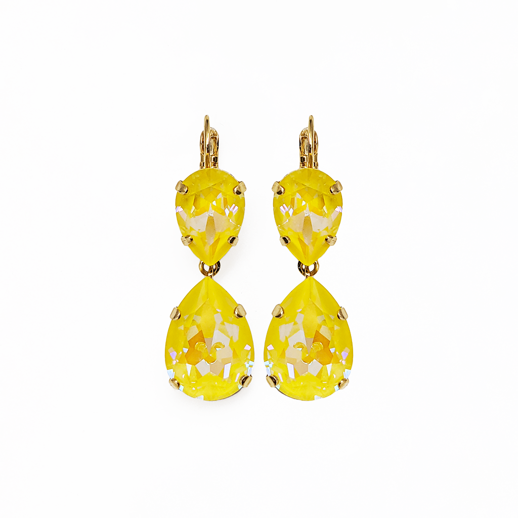 "Double Pear Leverback Earrings in Sun-Kissed ""Sunshine"" *Preorder*"
