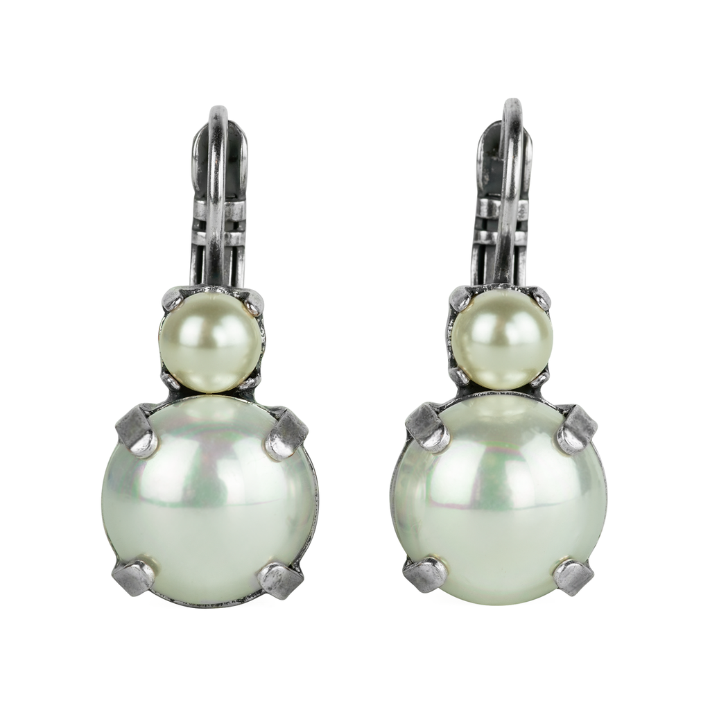 Antiqued Silver Leverback Earrings E-1037 Pearl