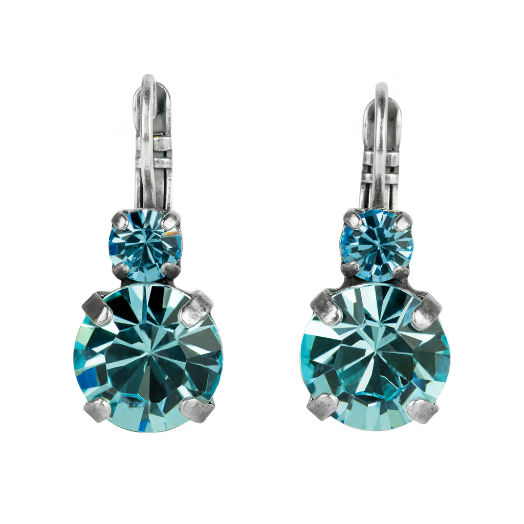 "Lovable Double Stone Leverback Earrings in ""Aquamarine"" *Preorder*"