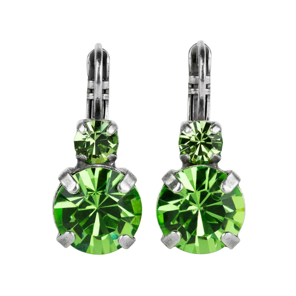 "Lovable Double Stone Leverback Earrings in ""Peridot""-Antiqued Silver"