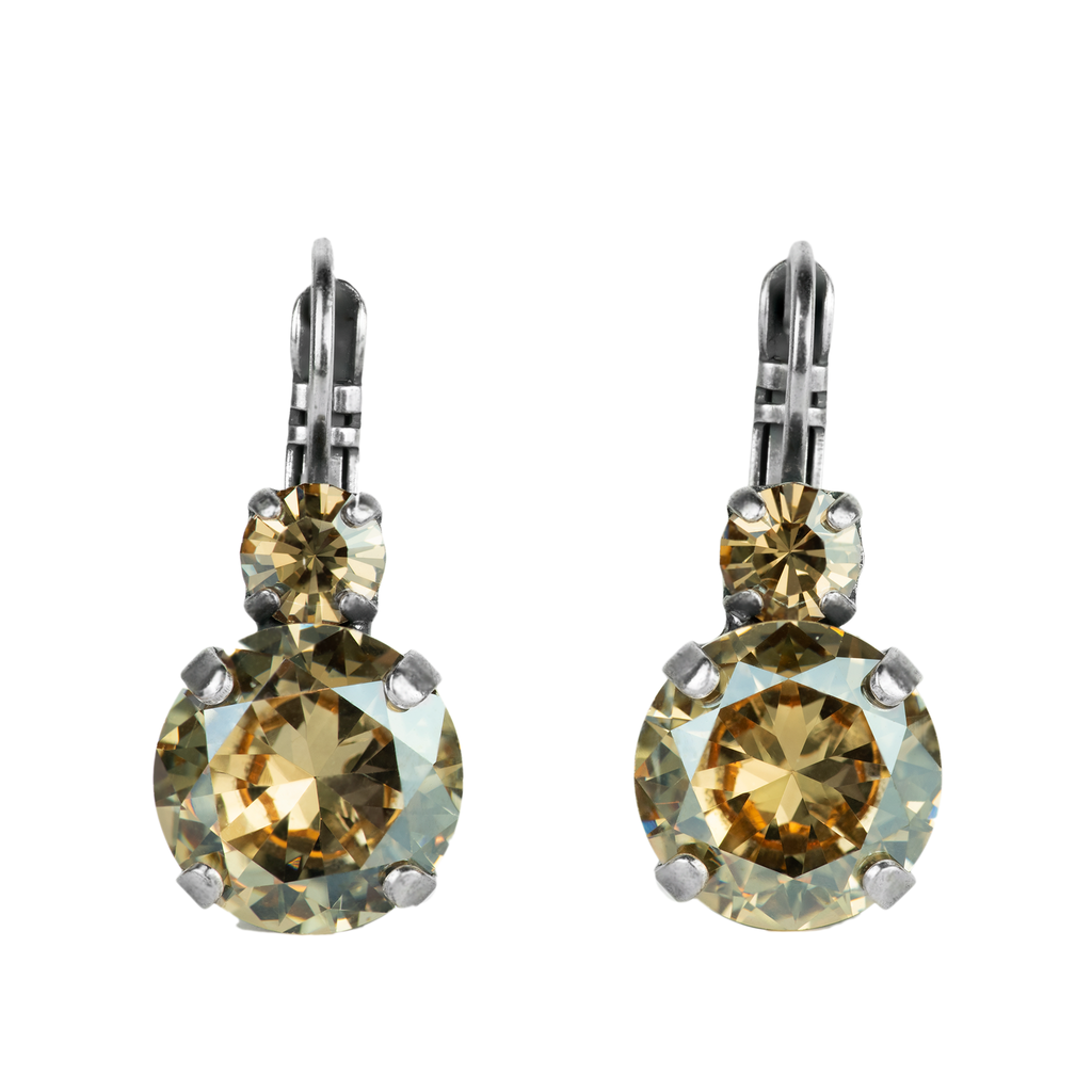 "Lovable Double Stone Leverback Earrings in ""Golden Shadow"" *Preorder*"