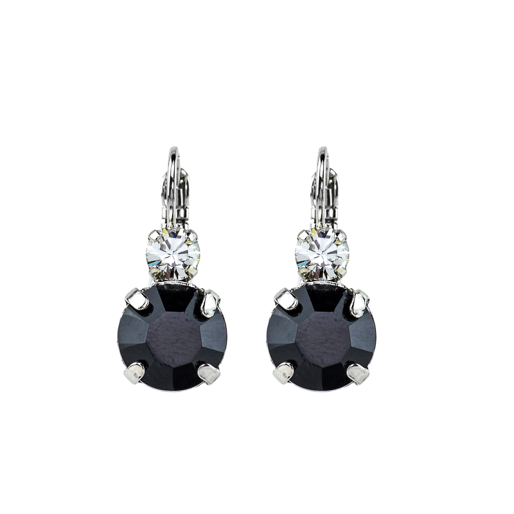 "Lovable Double Stone Leverback Earrings in ""Checkmate"" - Rhodium"
