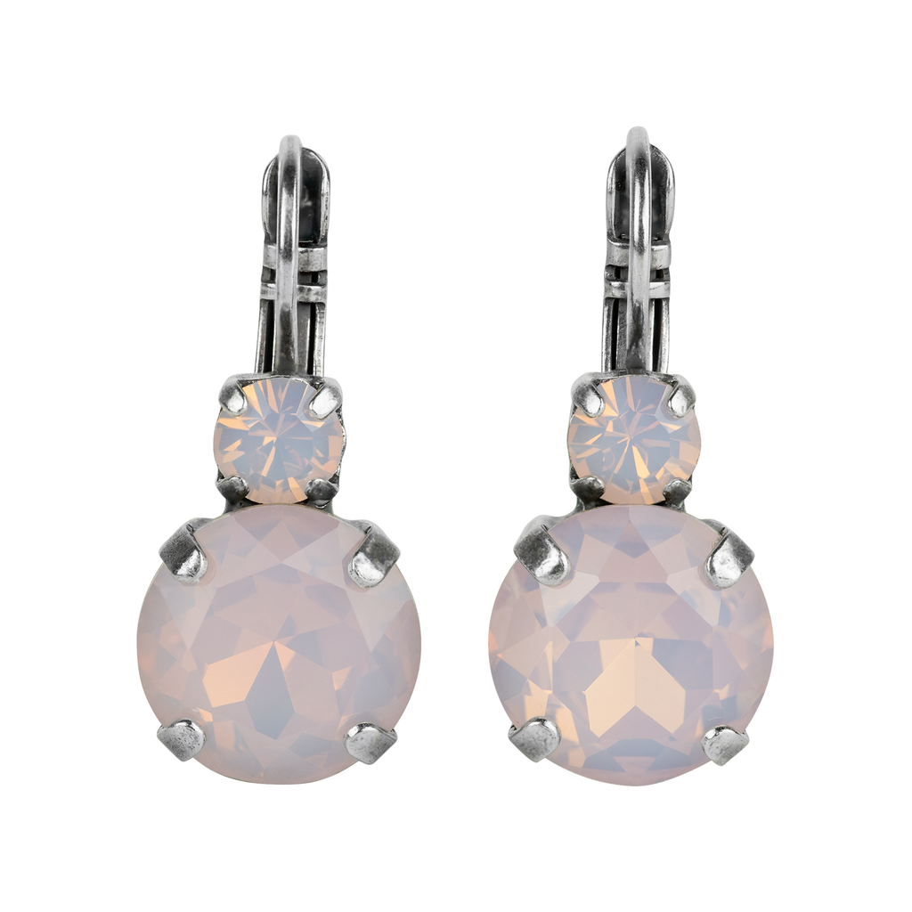 "Lovable Double Stone Leverback Earrings in ""Pink Opal""-Antiqued Silver"