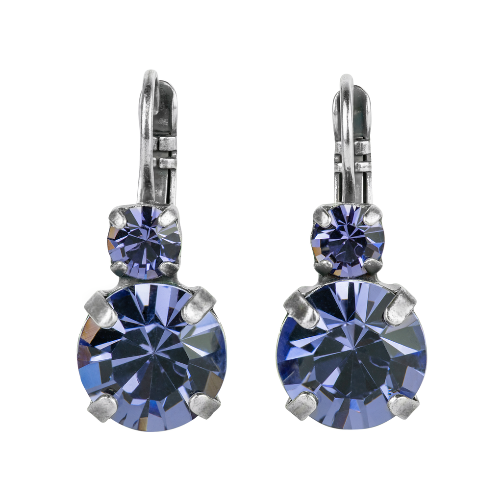 "Lovable Double Stone Leverback Earrings in ""Tanzanite"" *Preorder*"