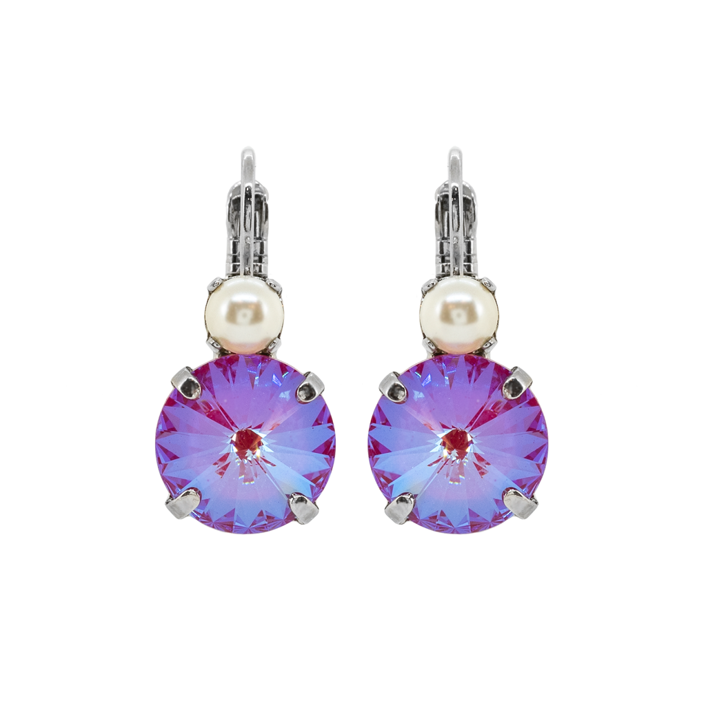 "Lovable Rivoli Double Stone Leverback Earrings in ""Pearl/Blush"" - Rhodium"