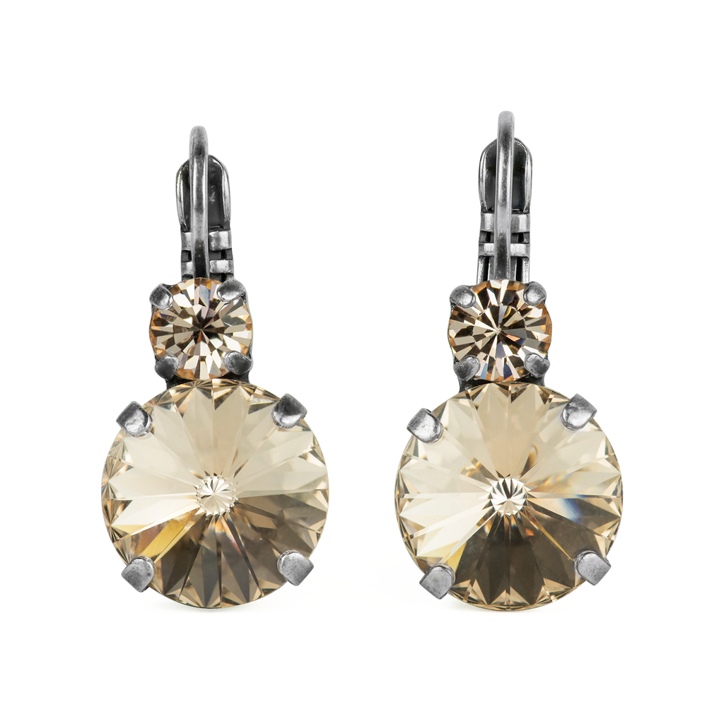 "Lovable Double Stone Rivoli Leverback Earrings in ""Silk""-Antiqued Silver"