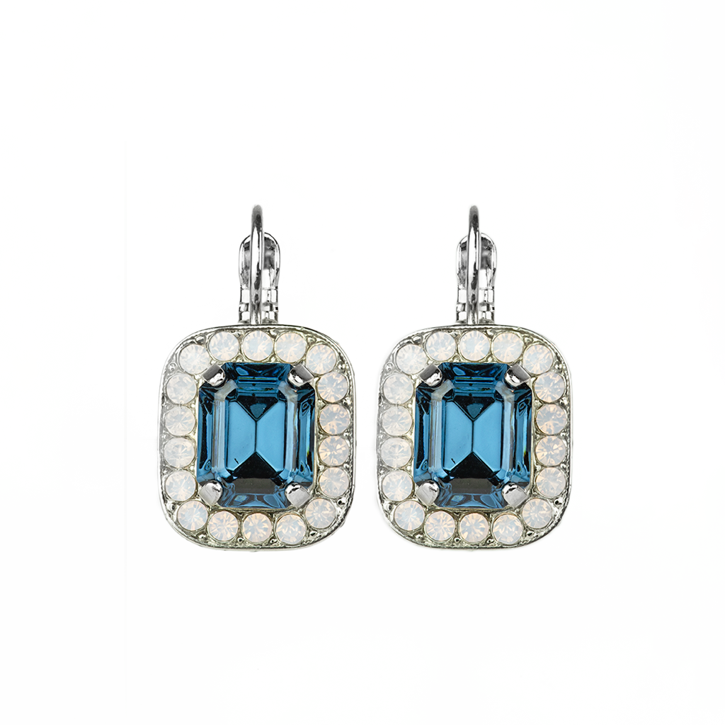 "Emerald Cut ""Blue Morpho"" Leverback Earrings *Preorder*"