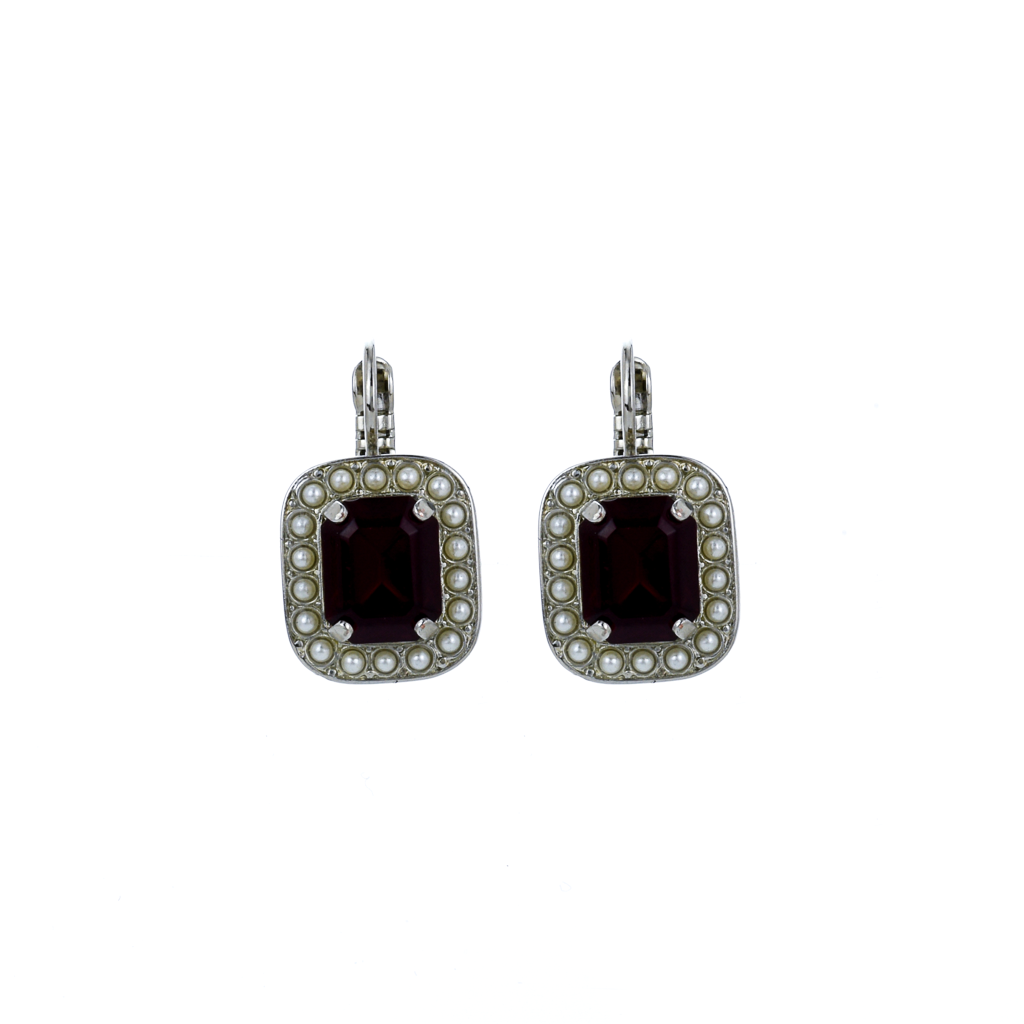 "Emerald Cut Leverback Earrings in  ""Happiness"" *Preorder*"