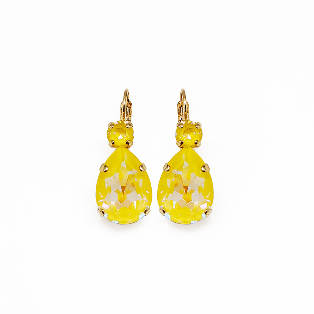 "Double Round and Pear Leverback Earrings in Sun-Kissed ""Sunshine"" *Preorder*"