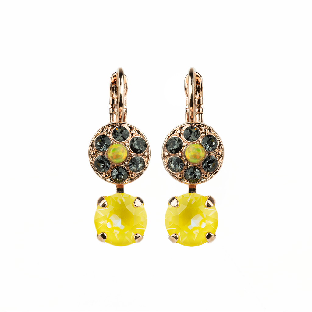"Double Stone Cluster and Round Leverback Earrings in ""Painted Lady"" *Preorder*"