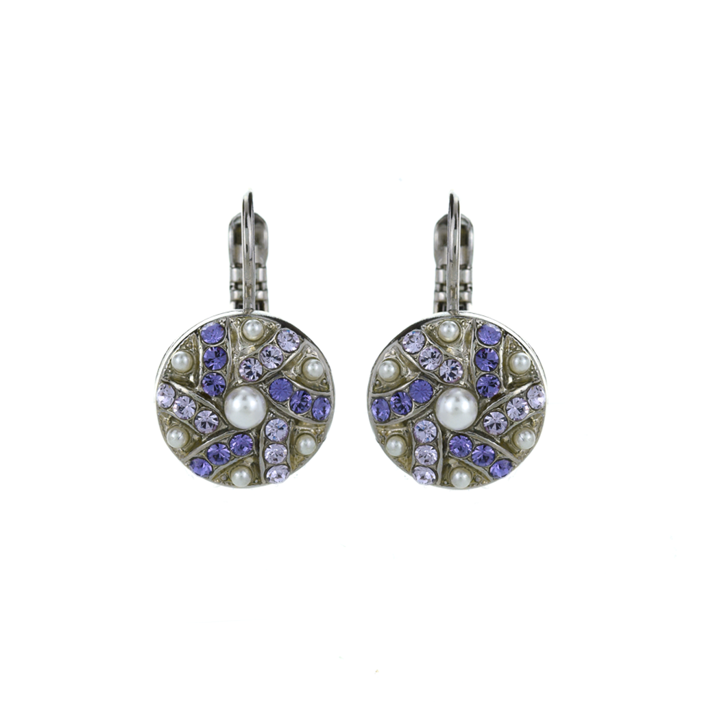 "Swirl Pave Cluster Leverback Earrings in ""Romance"" *Preorder*"