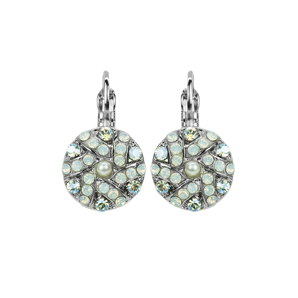 Pave Cluster Bridal Leverback Earrings in Ivory *Preorder*