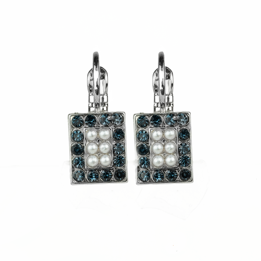 "*Preorder* Square Cluster Leverback Earrings in""Blue Morpho"""