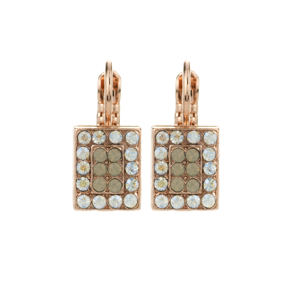 "Rectangle Pave Leverback Earrings in ""Peace"" *Preorder*"