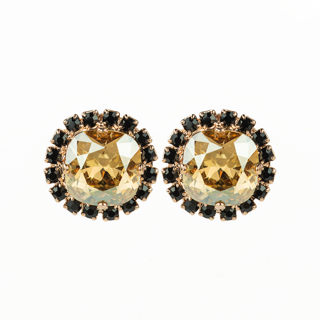"Cushion Cut Post Earrings in ""Black Orchid"" - *Preorder*"