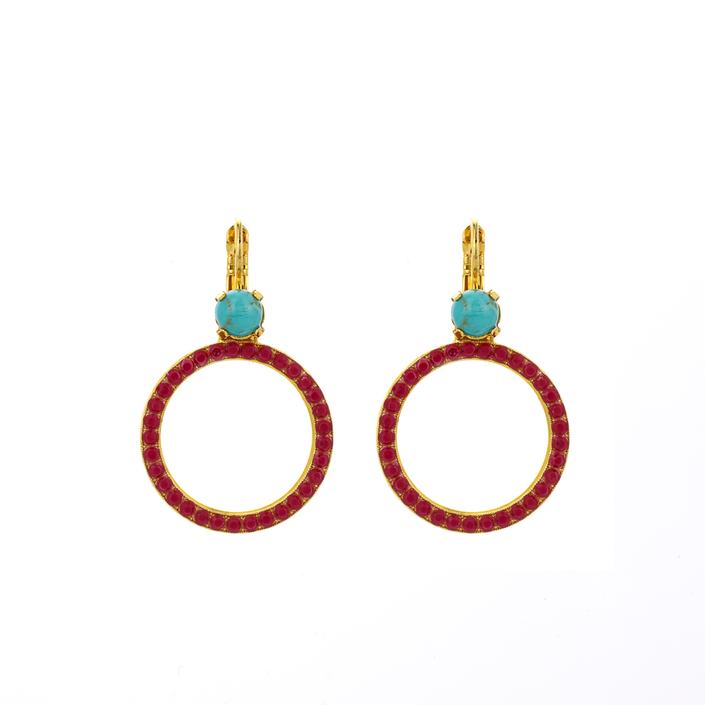 "Circle Leverback Earrings in ""Happiness-Turquoise"" *Preorder*"
