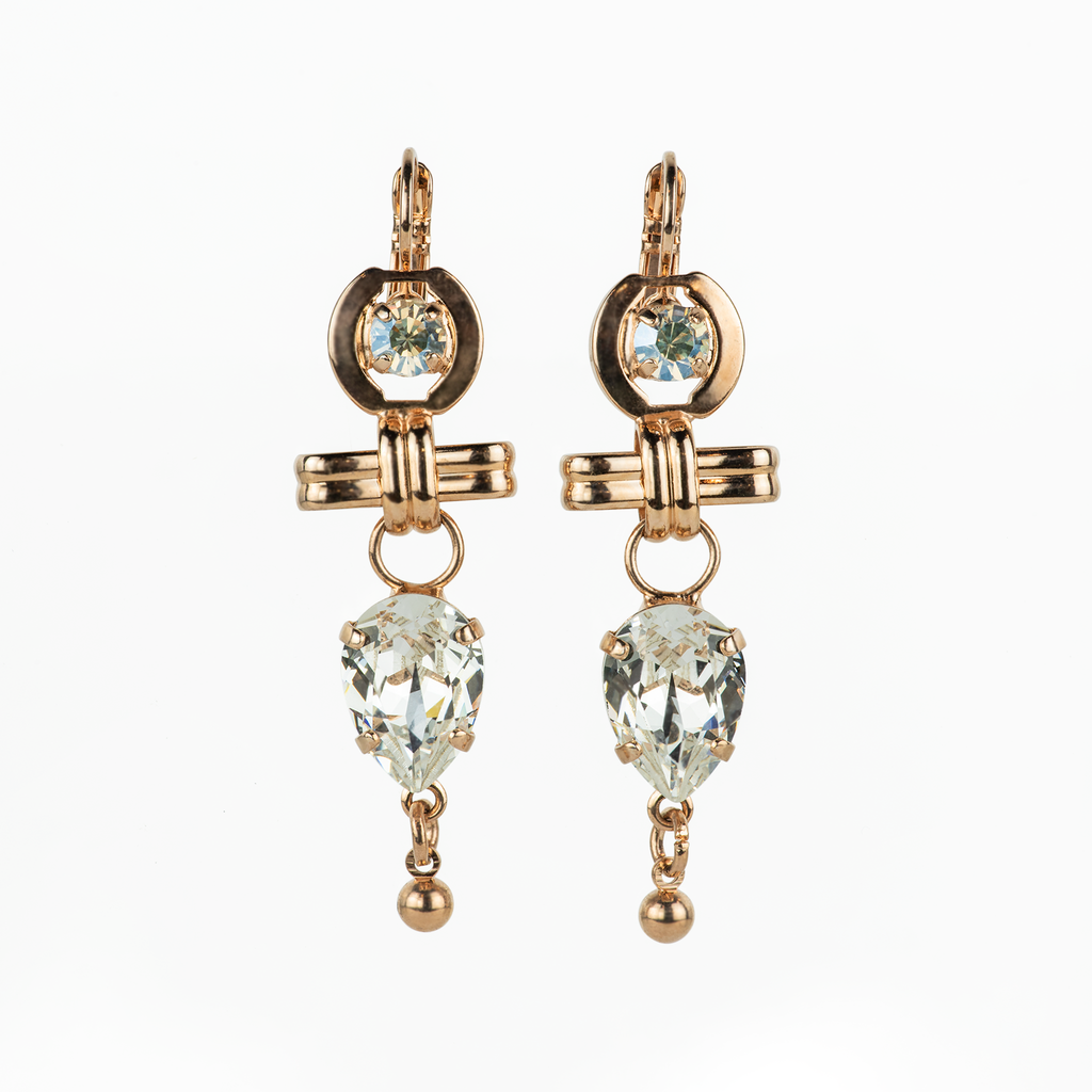 "[Rose Gold] Fun Finds Leverback Earrings ""Crystal Moonlight"""