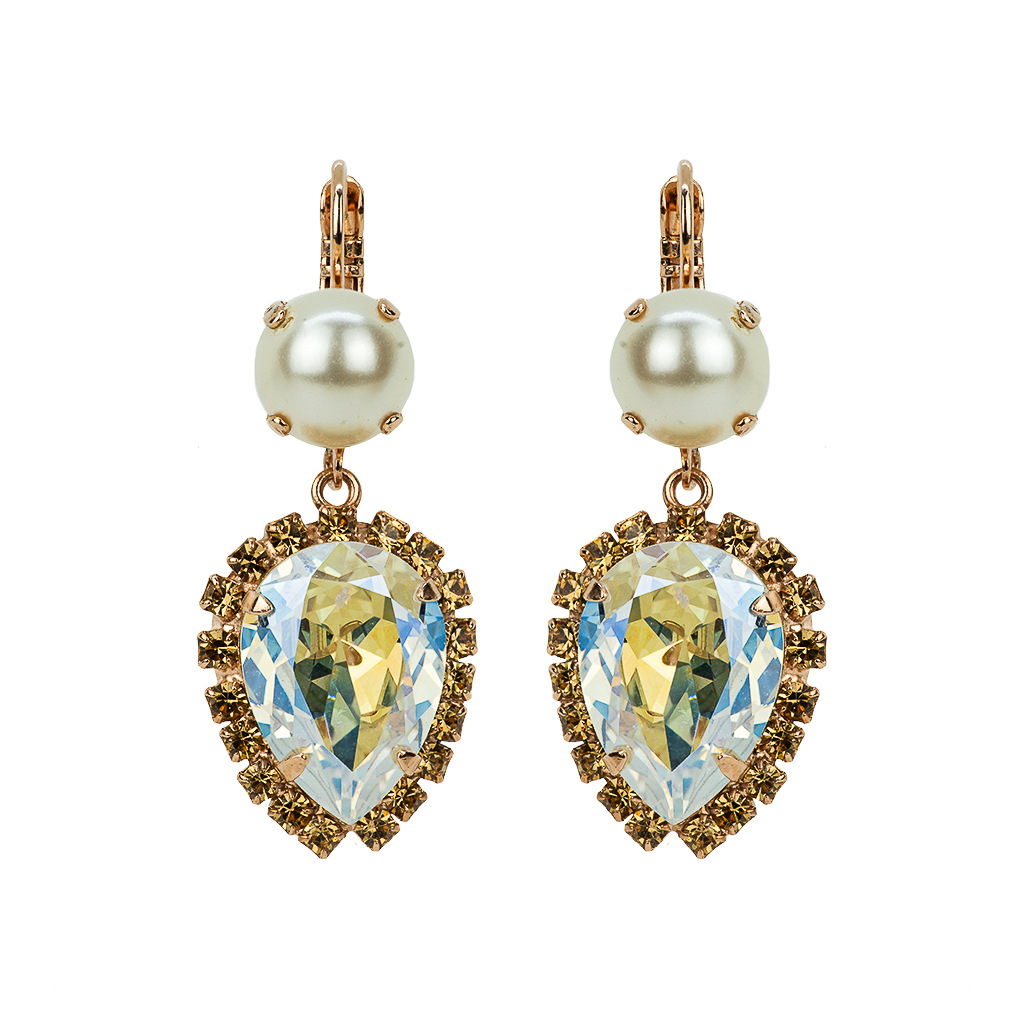 "Halo Teardrop Leverback Earrings in ""Champagne & Caviar"" *Preorder*"