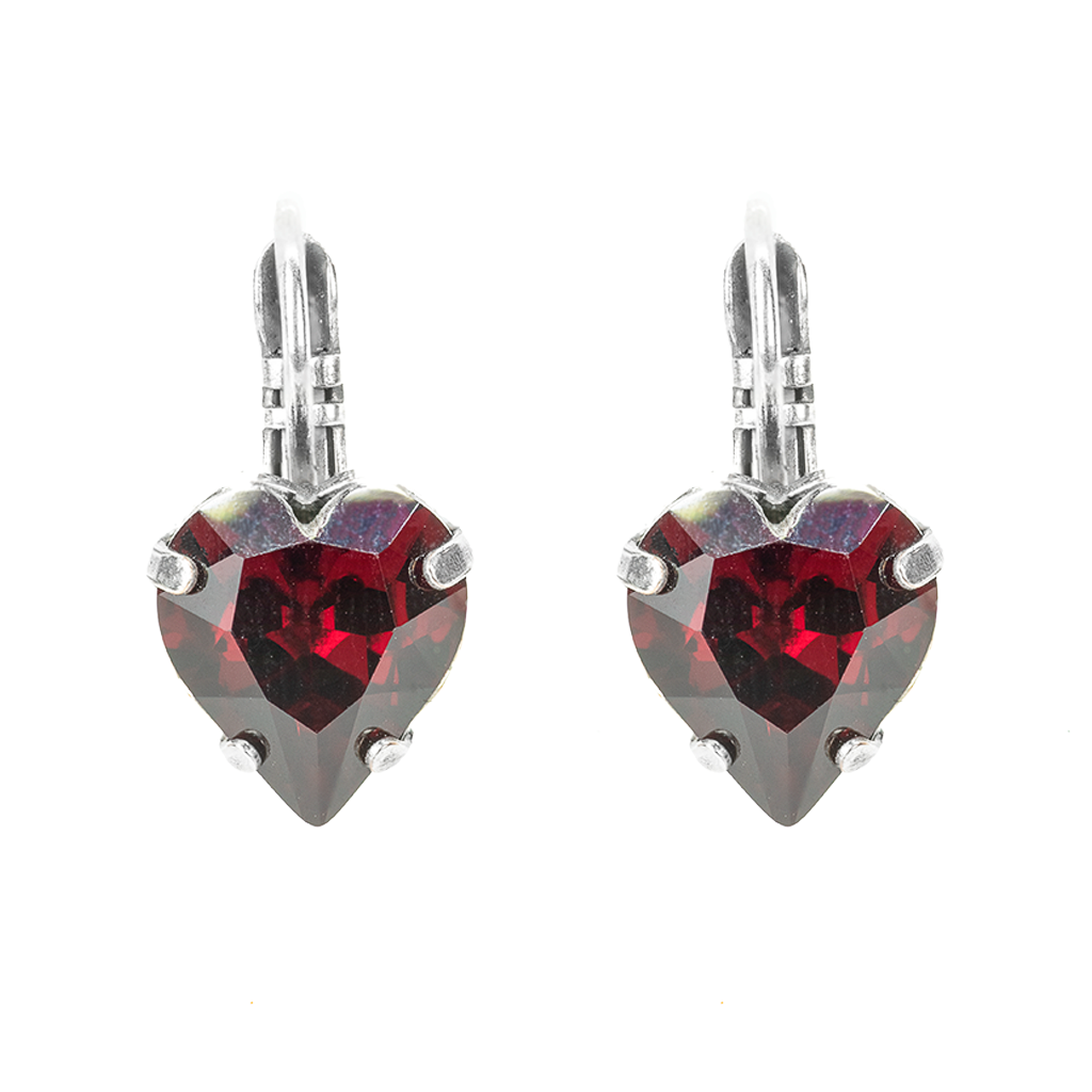 Siam Leverback Heart Earrings *Preorder*