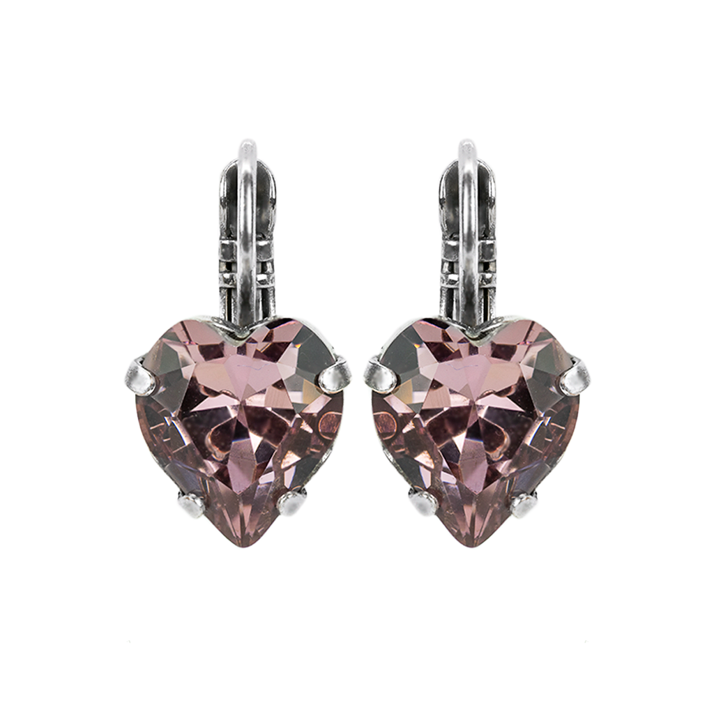 Light Amethyst Heart Leverback Earrings *Preorder*