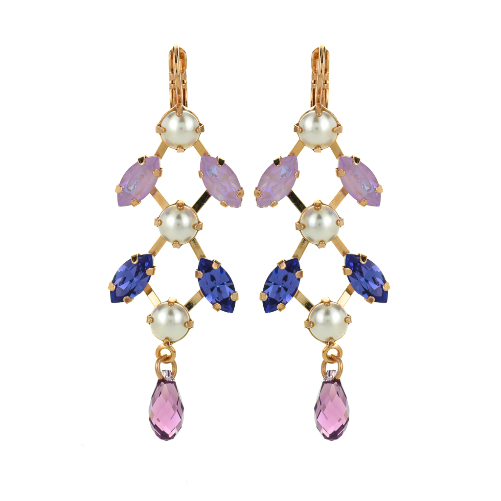 "Marquise and Round Chandelier Leverback Earrings in ""Romance"" *Preorder*"