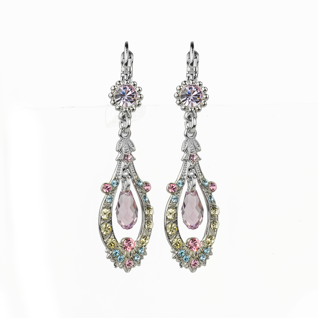"Open Oval Leverback Earrings with Center Dangle Briolette in ""Travelara"" *Preorder*"