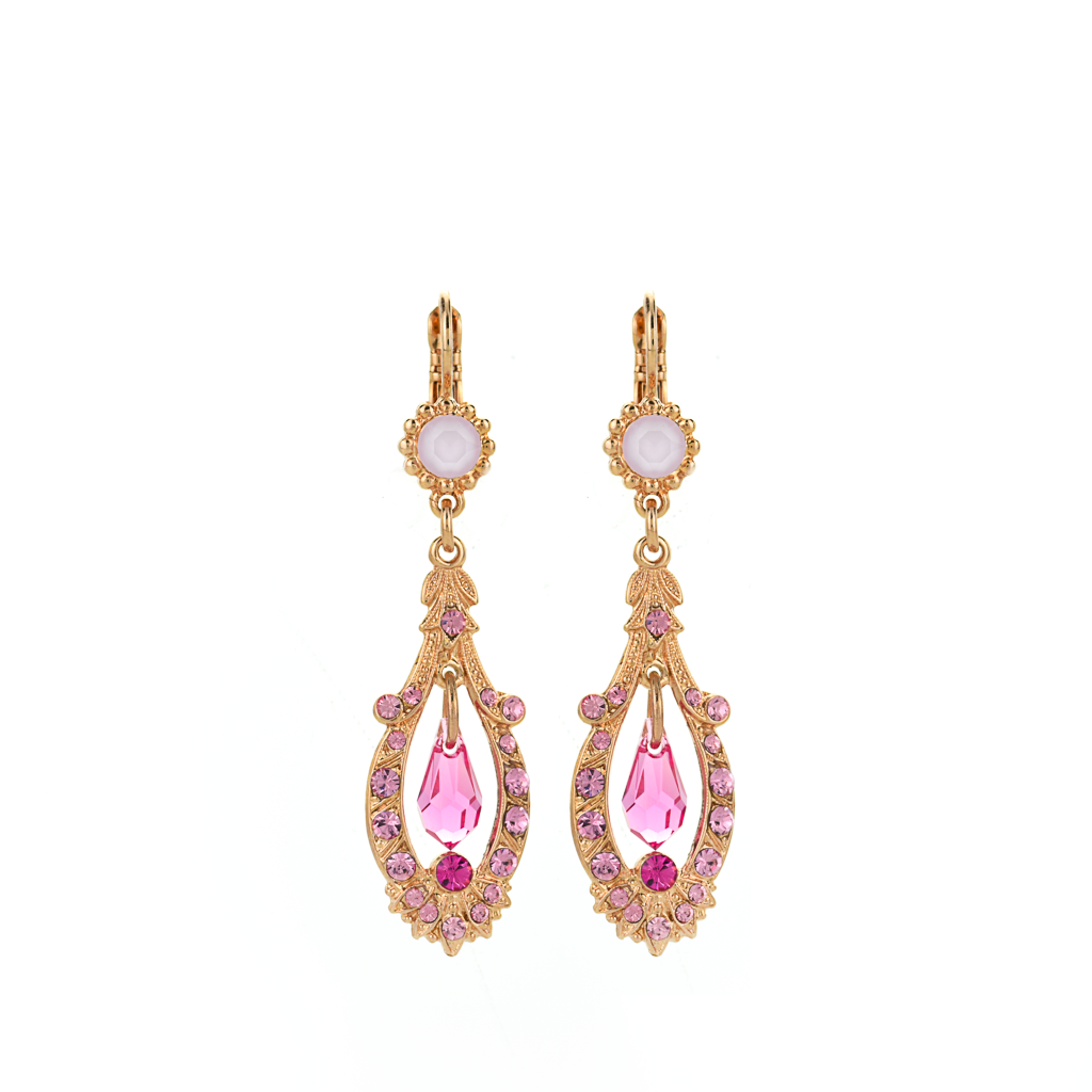 "Open Oval Leverback Earrings with Dangle Briolette in ""Love"" *Preorder*"