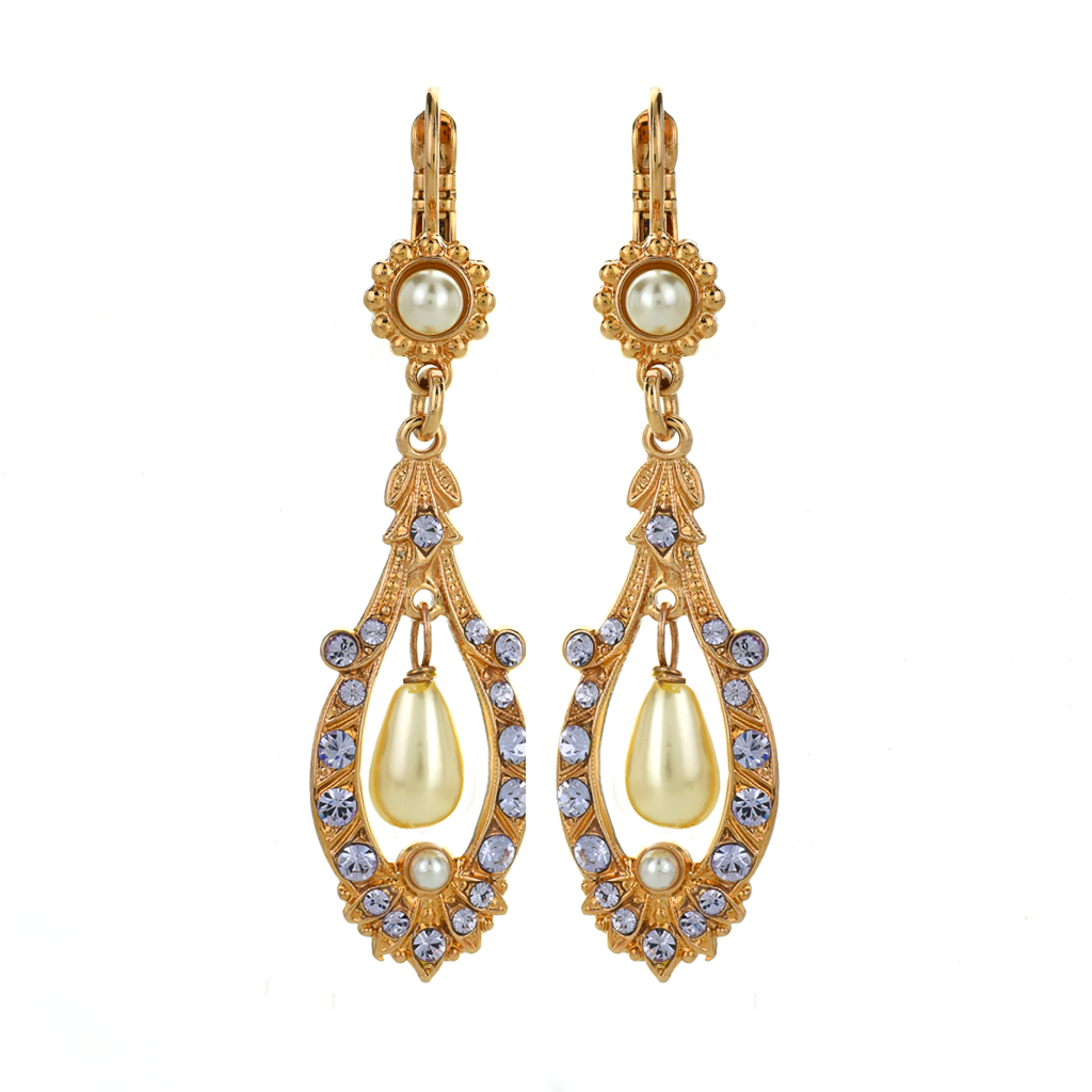 "Open Oval Leverback Earrings with Dangle Briolette in ""Romance"" *Preorder*"