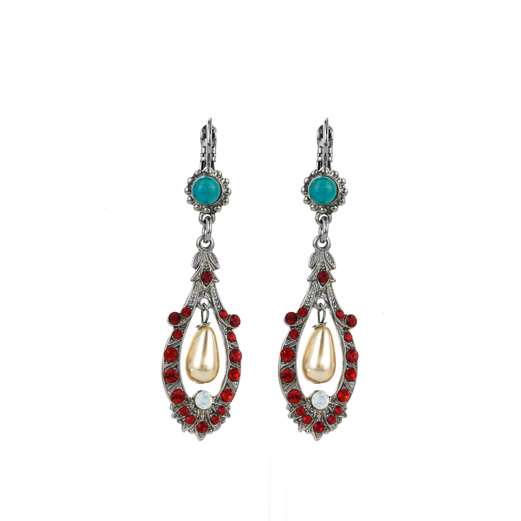 "Open Oval Leverback Earrings with Dangle Briolette in ""Happiness"" *Preorder*"