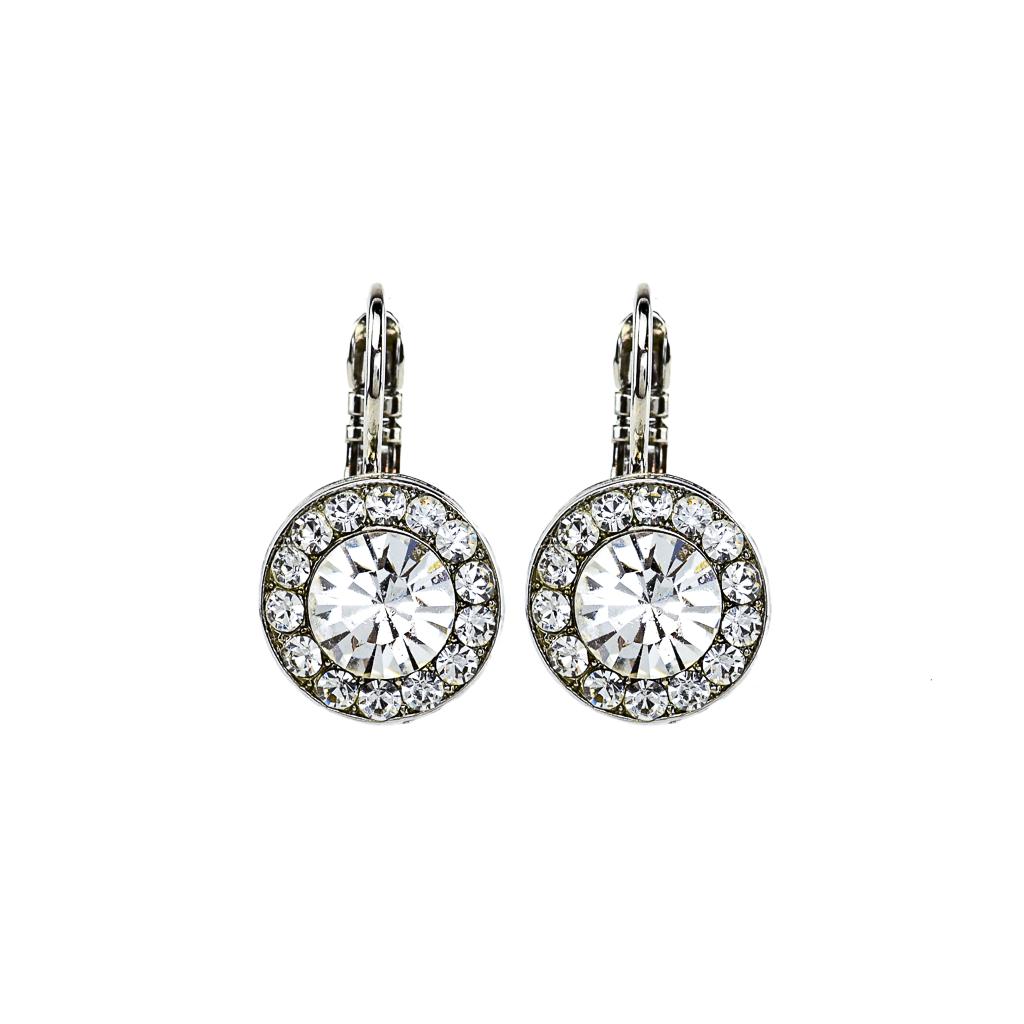 Lovable Pavé Leverback Earrings in Clear - Rhodium