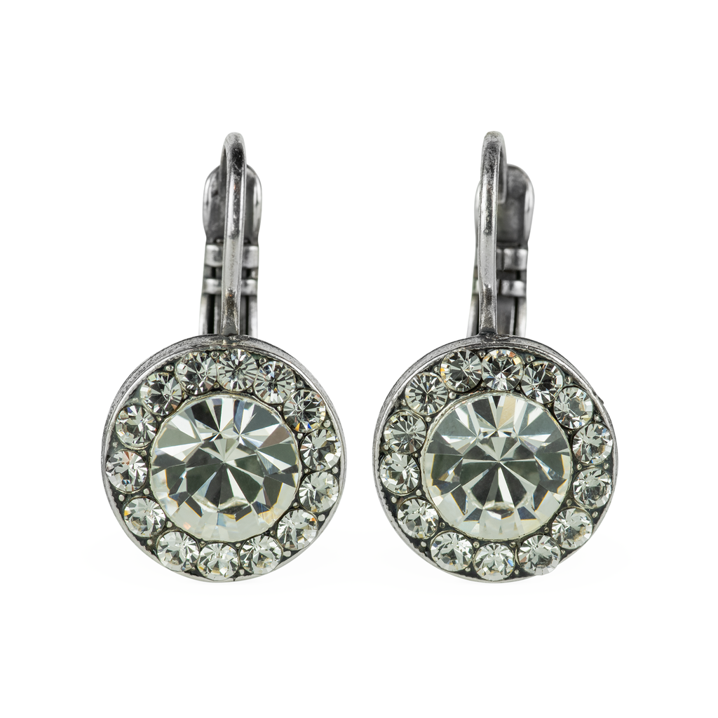 Antiqued Silver Leverback Earrings E-1129 Clear