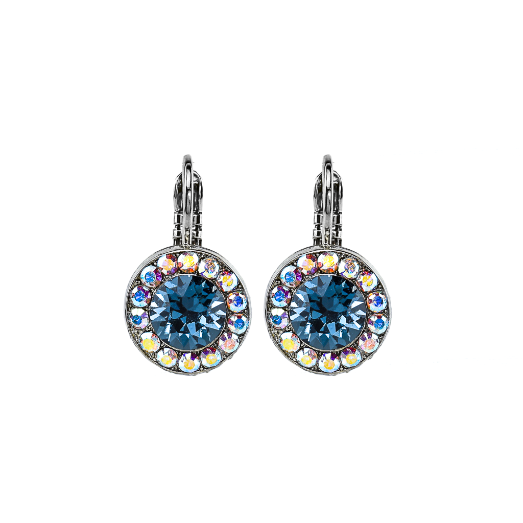 "Lovable Pave Leverback Earrings in ""Mood Indigo"" - Rhodium"