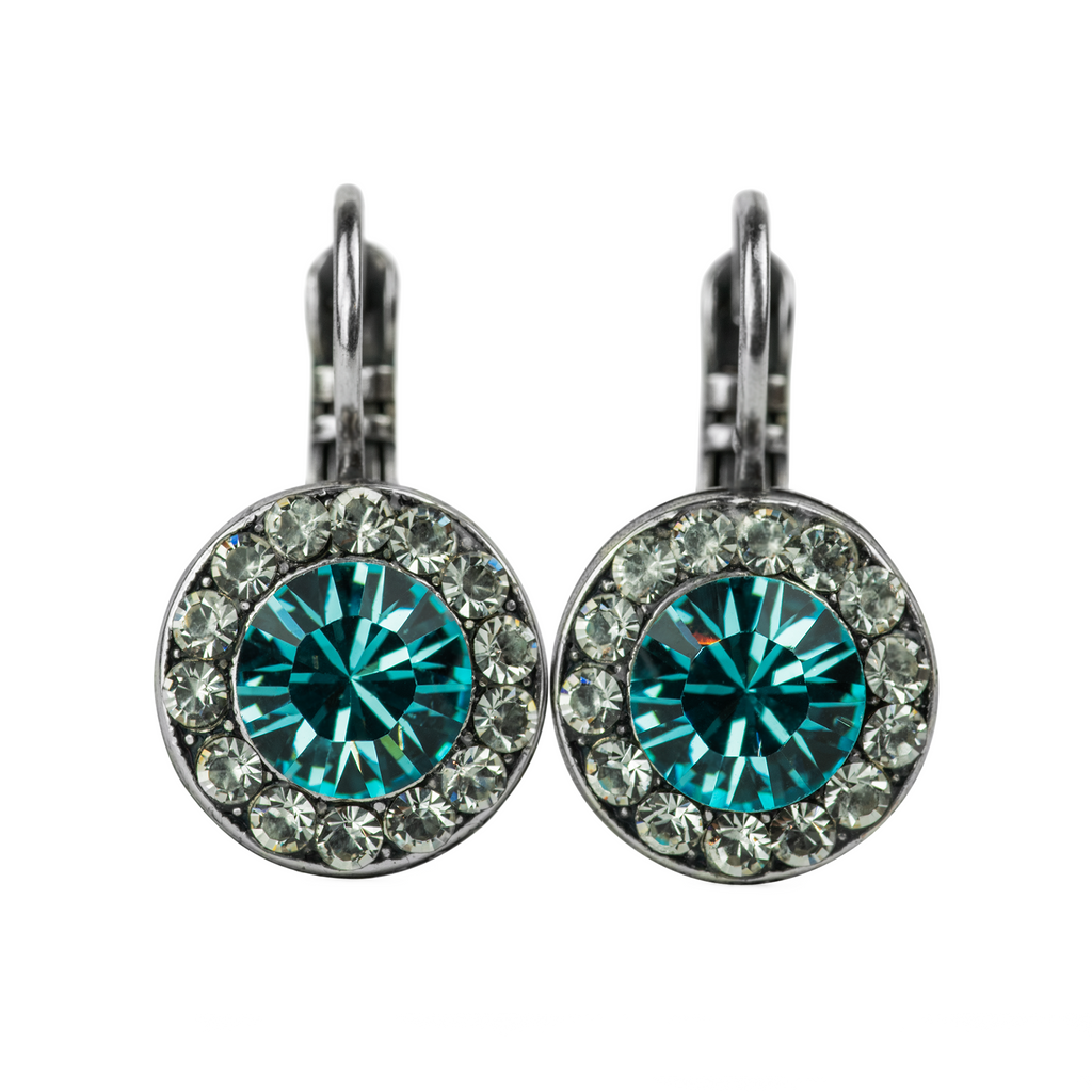 "[Antiqued Silver] Lovable Pavé Leverback Earrings ""Frost"""