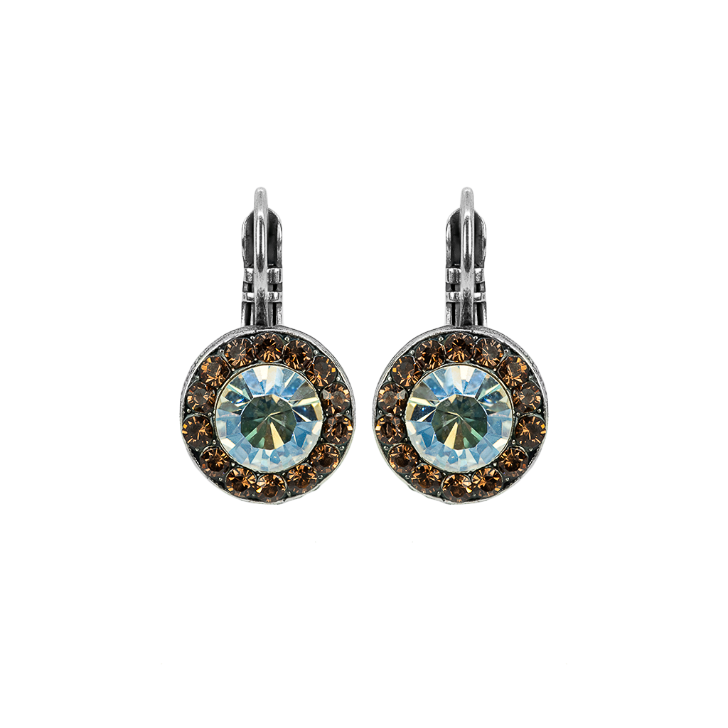 "Lovable Pave Leverback Earrings in ""Champagne & Caviar"" - Antiqued Silver"