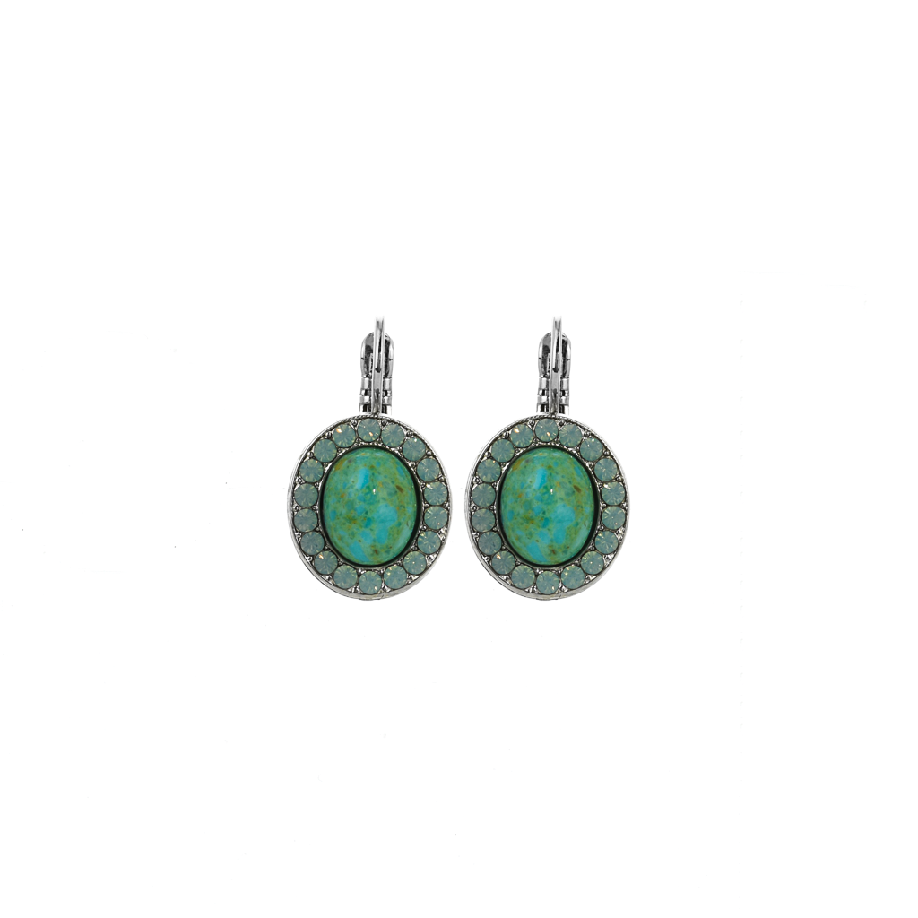 Oval Cluster Leverback Earrings in Natural Turquoise - Rhodium