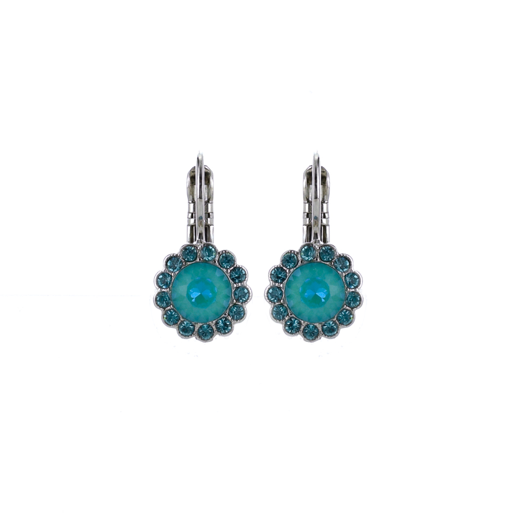 "Must-Have Rosette Leverback Earrings in ""Tranquil"" - Rhodium"