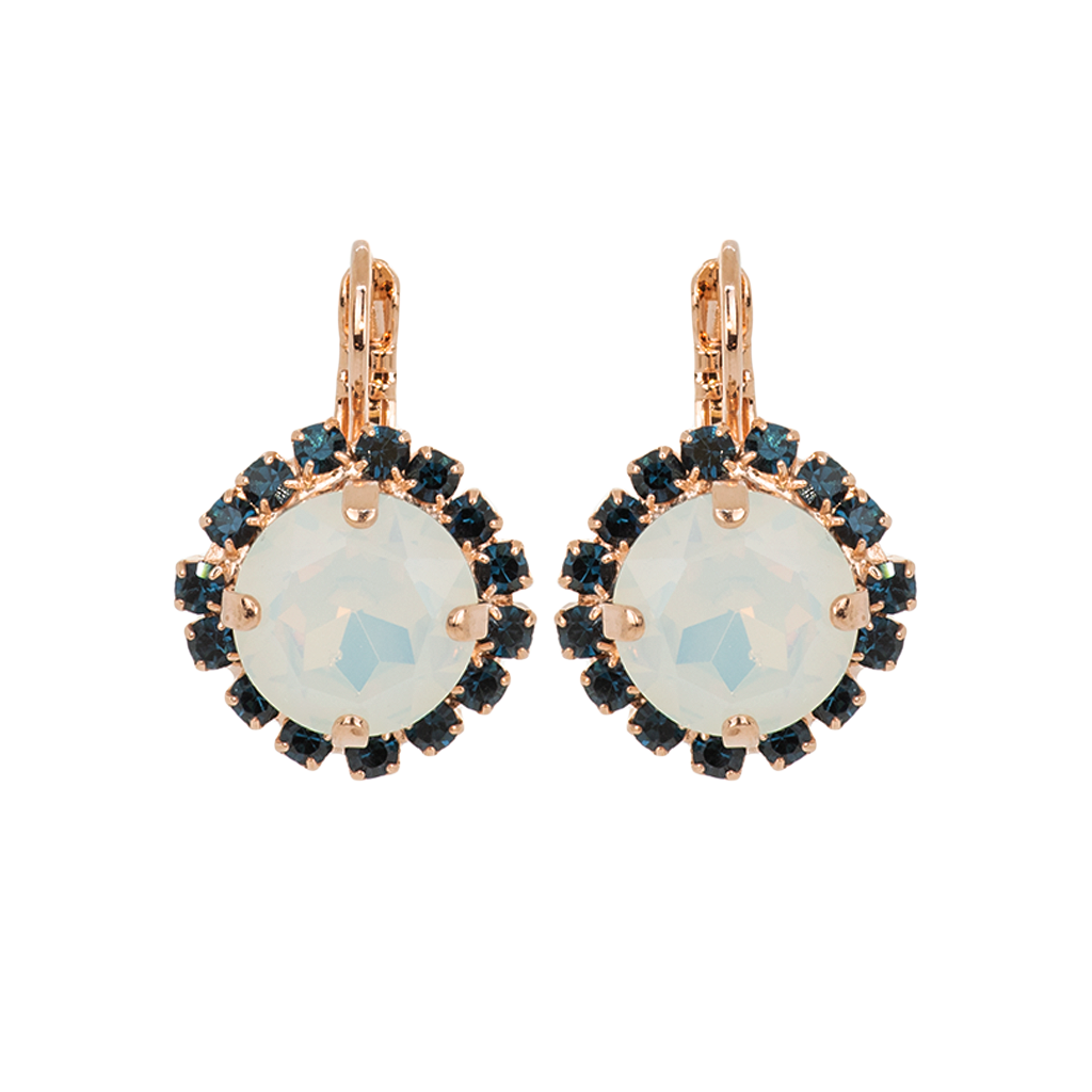 "Halo Leverback Earrings in ""Mood Indigo"" - Rose Gold"
