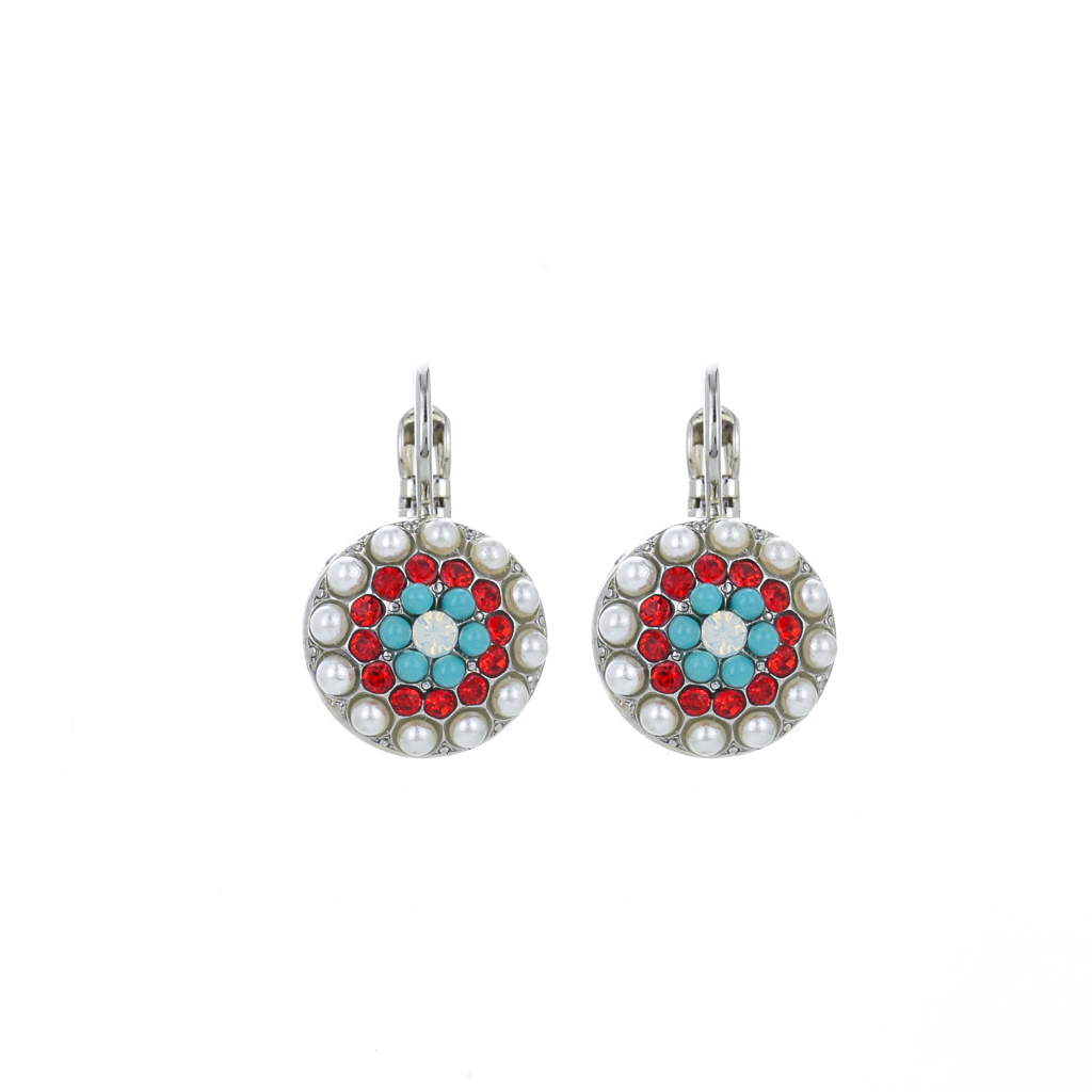 "Round Pave Leverback Earrings in ""Happiness"" *Preorder*"