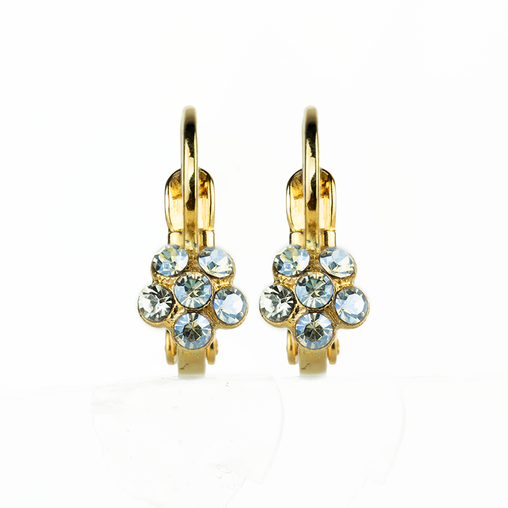 "Petite Flower Leverback Earrings in ""Crystal Moonlight"" *Preorder*"