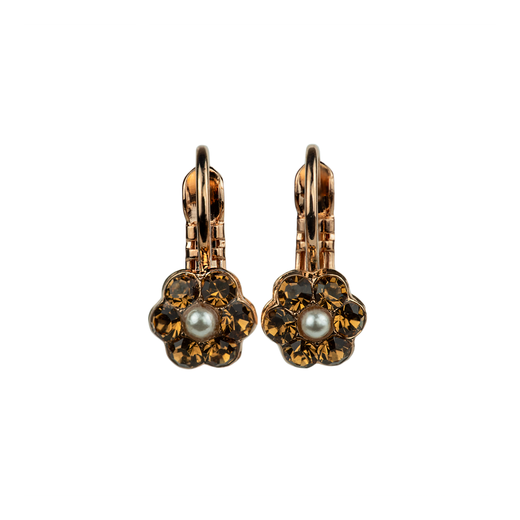 "[Rose Gold] Petite Flower Leverback Earrings ""Champagne & Caviar"""