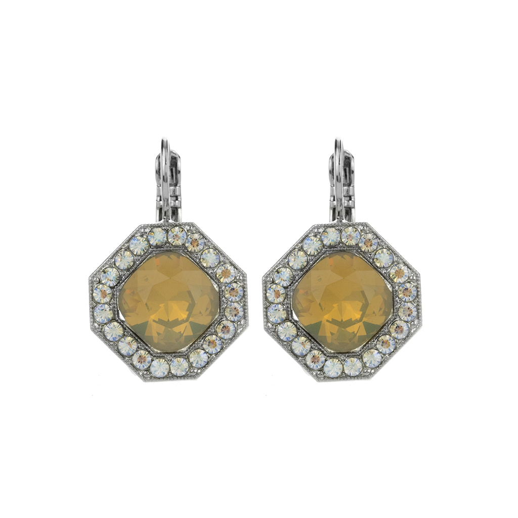 "Octagon Halo Leverback Earrings in ""Peace"" *Preorder*"