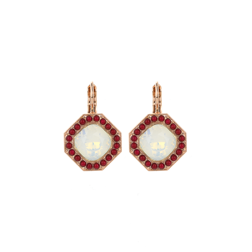 "Octagon Halo Leverback Earrings in ""Happiness"" *Preorder*"