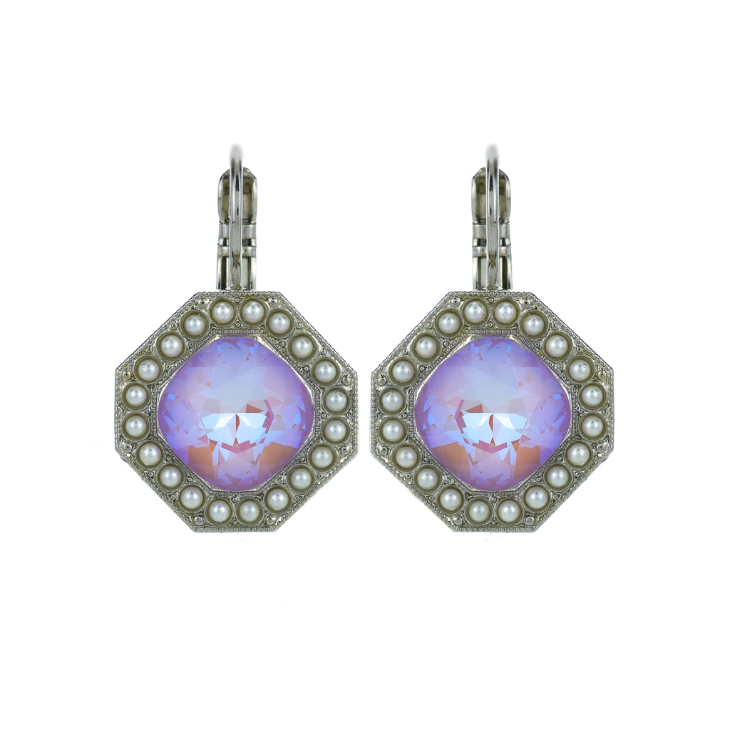 "Octagon Halo Leverback Earrings in ""Romance"" *Preorder*"