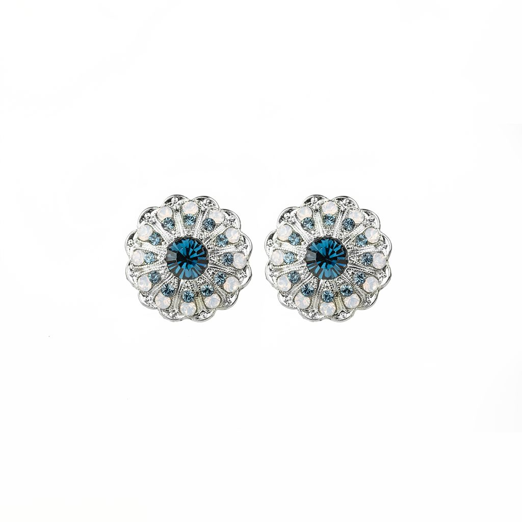 "Blossom Leverback Earrings in ""Blue Morpho"" - Rhodium"