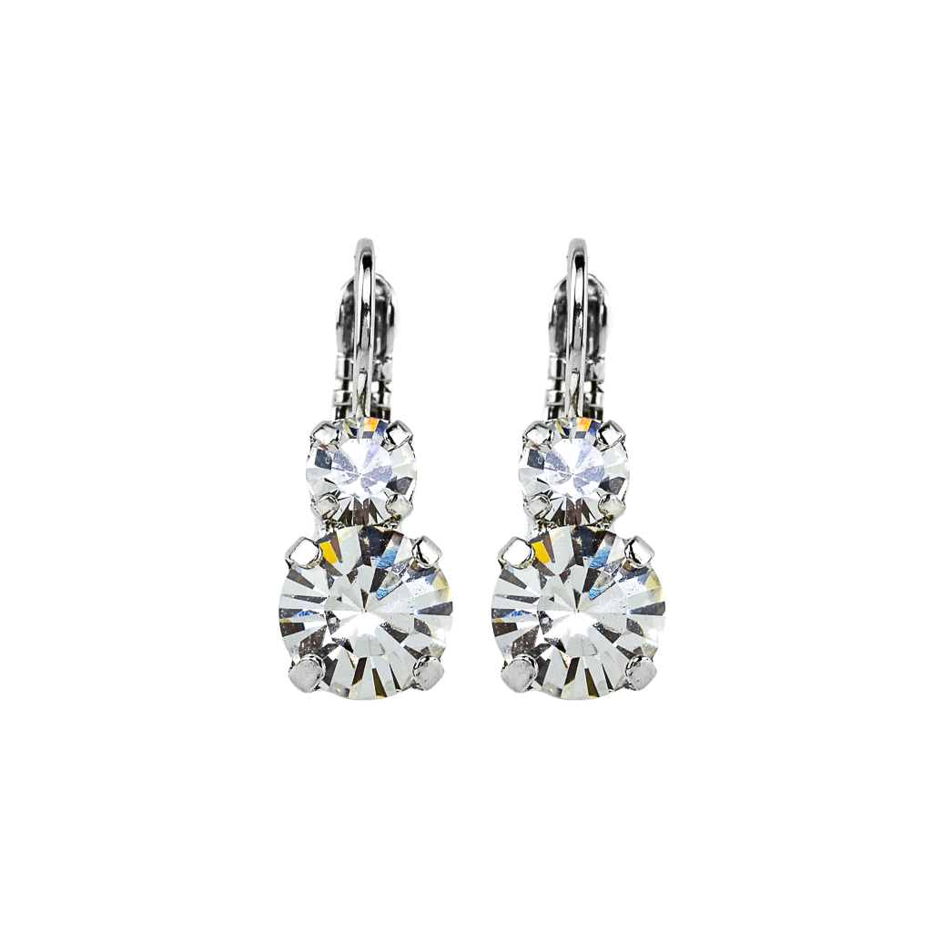 Must-Have Double Stone Leverback Earrings in Clear - Rhodium