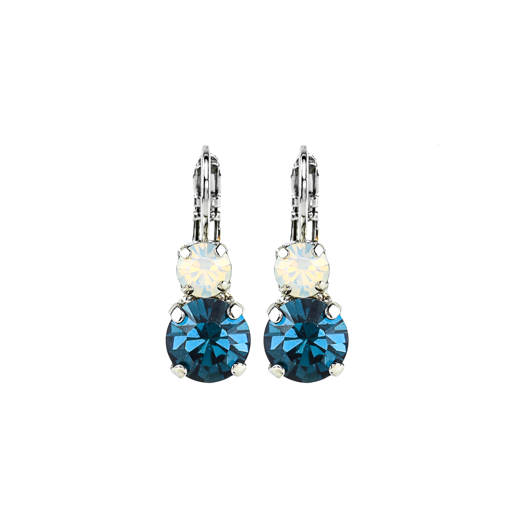 "Must-Have Double Stone Leverback Earrings in ""Mood Indigo"" - Rhodium"