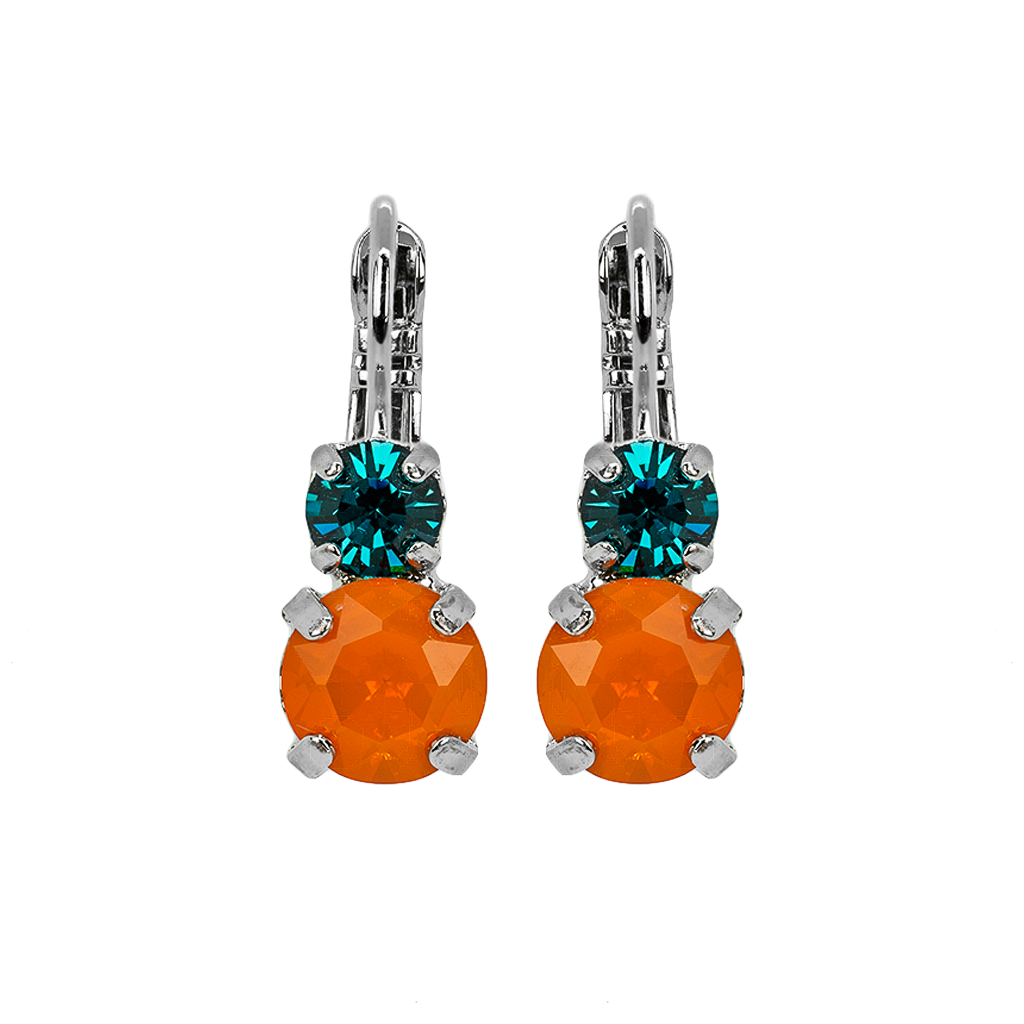 "Must-Have Double Stone Leverback Earrings in ""Poppy"" - Rhodium"