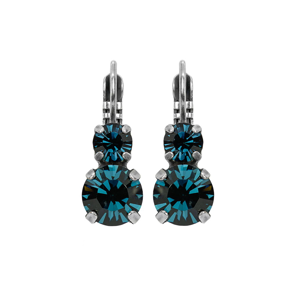"Must-Have Double Stone Leverback Earrings in ""Montana Blue"" *Preorder*"