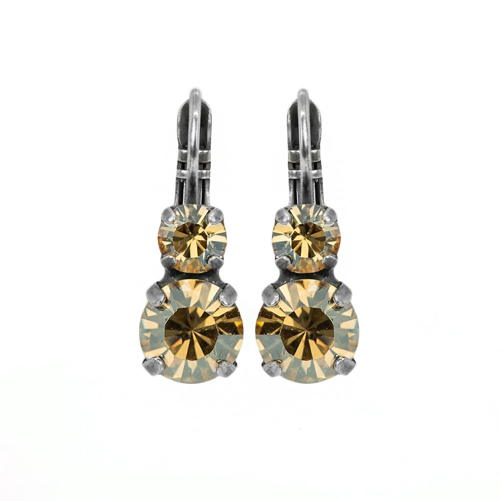 "Must-Have Double Stone Leverback Earrings in ""Golden Shadow"" - Antiqued Silver"