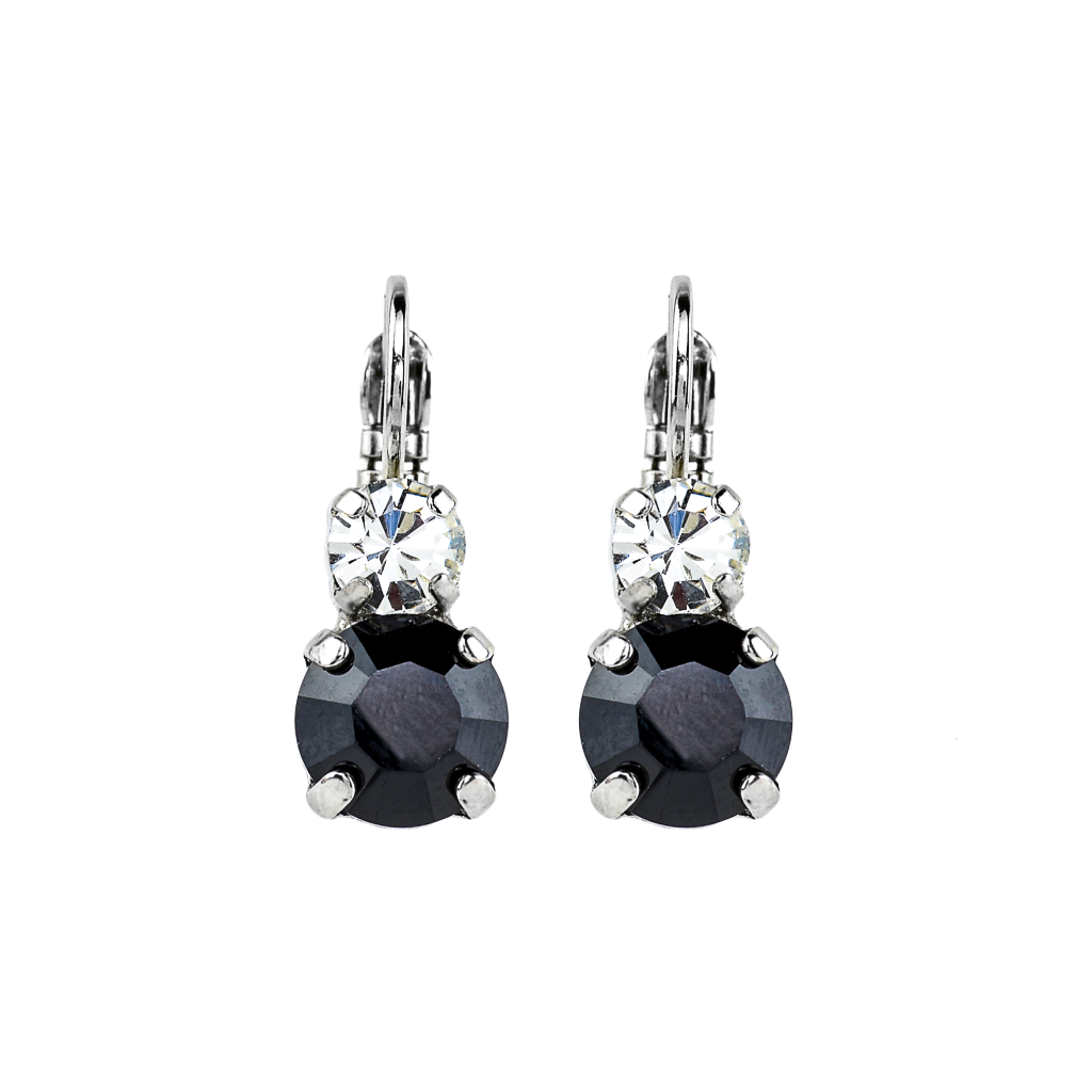 "Must-Have Double Stone Leverback Earrings in ""Checkmate"" - Rhodium"